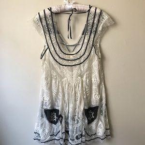 Lace Black & White Babydoll Dress
